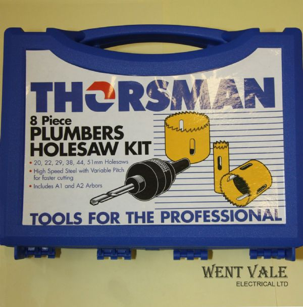 Thorsman 3311915 - 8 Piece Plumbers Holesaw Kit + Carry Case. New